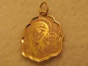 золотая подвеска с изображением