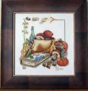 Картина  «Дары лета», ручная работа,  вышивка.