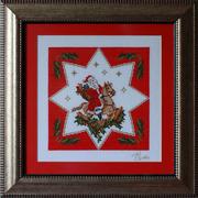 Картина «Дед Мороз с подарками»,  ручная работа,  вышивка.
