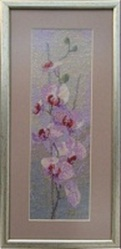 Картина «Орхидеи», ручная работа,  вышивка