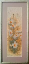 Картина «Ромашки», ручная работа,  вышивка.