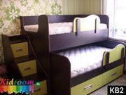 Выдвижные двухуровневые кровати для двоих детей,  двухъярусные кровати со ступеньками в Минске