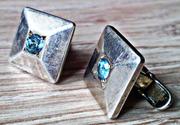 Серебрянные запонки с драг комнями (Шпинель,  топаз,  бриллиант)