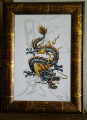 Картина«Дракон-цю»,  ручная работа,  вышивка.