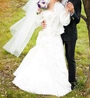 Атласное свадебное платье!!!