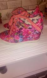кроссовки на платформе розовые