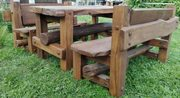 Набор ДУБОВОЙ мебели «ВЕЧНЫЙ» (стол + 2 скамьи с регулируемыми спинкам
