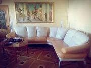 Кожаный диван Kler,  угловой. Два кресла.