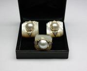 Крупный Комплект Кольцо и Серьги золото, бриллианты, жемчуг.