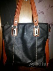 сумка черная с коричневыми вставками