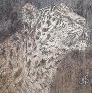 Картина авторская Ягуар - дерево,  выжигание.