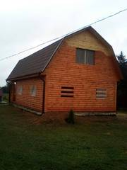 Сруб Дома из бруса Владимир 9 × 7 с верандой, доставка-установка