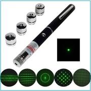 Лазерная указка с 5 насадками Green Laser Pointer