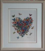 Картина «Сердце из бабочек», ручная работа,  вышивка.