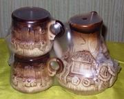 Кофеварка керамическая с чашками 2 шт. в упаковке